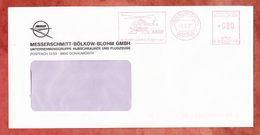 Brief, Francotyp-Postalia B06-1197, MBB Hubschrauber U. Flugzeuge, 80 Pfg, Donauwoerth 1987 (36030) - [7] République Fédérale