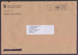 MONACO Postal History, Official Used Big Postage Paid Cover With Slogan Postmark, Used 2.2.2017 - Monaco
