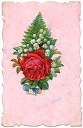 """CPA FANTAISIE  """" Bonne Année """"   Avec Ajoutis Fleurs, Bordure Ciselée Et Fond Aspect Nacré Rose - Nouvel An"""