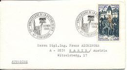 France Cover Sent To Austria Strasbourg 30-11-1968 - France