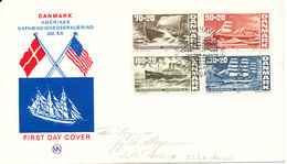 Denmark FDC 22-1-1976 American Independence Bicentennial Complete Set Of 4 Ships With Cachet - FDC