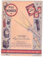 PROTEGE CAHIER Ancien Pile WONDER , Lampes Electriques, Lanterne, Torche / Notions Système Métrique - Electricité & Gaz