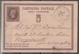ITALIA 1874 - Cartolina Postale 10 C. Da Mosso S. Maria A Borgo Vercelli - Entiers Postaux
