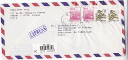 1991 REGISTERED EXPRESS Taipei TAIWAN COVER Multi Stamps To USA China - 1945-... Republic Of China