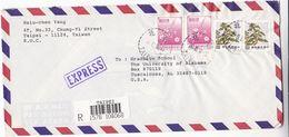 1991 REGISTERED EXPRESS Taipei TAIWAN COVER Multi Stamps To USA China - 1945-... República De China