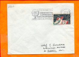 GIRONDE, Bordeaux, Flamme SCOTEM N° 1380d, Salon Des Composants Electroniques 1964, Timbre Concordant - Storia Postale