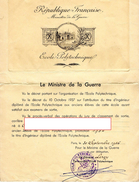 REPUBLIQUE FRANCAISE Ministère De La Guerre  ECOLE POLYTECHNIQUE  Diplome Au Titre D'Ingénieur  PROMOTION  1954 - Documents