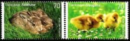 Germany - 2016 - Easter - Animal Children - Grey Hare And Grey Goose - Mint Stamp Set - BRD