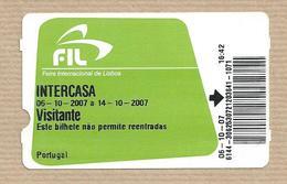 Entrance Ticket International Fair Of Lisbon. Intercasa 2007 - Tickets - Entradas