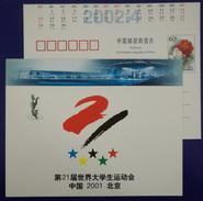 Diving,Mascot Yangtze Alligator Lala,Gymnasium,China 2001 Beijing World Summer Universiade Advert Pre-stamped Card