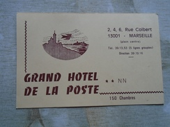 D147366 Grand Hotel  De La Poste - Marseille     2,4,6 Rue Colbert -hotel Card - Hotel Labels