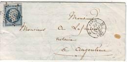25c Empire N° 15 TTB 2 Voisins Obl Etoile Paris Lettre Du 23 Mai 1854 , Cote 500 Euro - 1849-1876: Période Classique