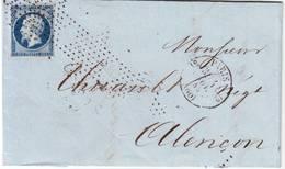 N° 14 Obl ROULETTE D' ETOILES Cachet De La Route 12 , Lettre De Paris 4 Nov 1855 , TTB ++++++ - Postmark Collection (Covers)