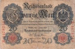 ALLEMAGNE   20 Mark   8/6/1907   P. 28 - [ 2] 1871-1918 : German Empire