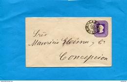 Marcophilie-CHILI--lettre Entier Postal 5 C Colomb-cad Chillan 1892->CONCEPTION - Chile