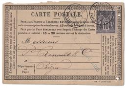 """1878 - CP PRECURSEUR DE """"A. MACCARI"""" AFFRANCHIE SAGE 10c OBLITERATION CAD MARSEILLE PLACE CENTRALE POUR BEZIERS - 1877-1920: Semi Modern Period"""
