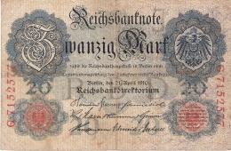 ALLEMAGNE   20 Mark   21/4/1910   P. 40b - [ 2] 1871-1918 : German Empire