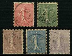 FRANCE - YT 129 à 133 - SEMEUSE LIGNEE - SERIE COMPLETE 5 TIMBRES OBLITERES - 1903-60 Säerin, Untergrund Schraffiert