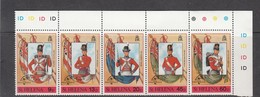 1989 St Helena Flags And Military Uniforms Philexfrance Overprint  Complete Set Of 5 MNH - Isola Di Sant'Elena