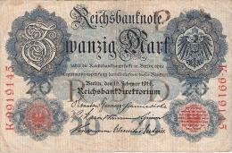 ALLEMAGNE   20 Mark   19/2/1914   P. 46b - [ 2] 1871-1918 : German Empire