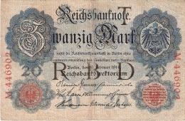 ALLEMAGNE   20 Mark   19/2/1914   P. 46a - [ 2] 1871-1918 : German Empire