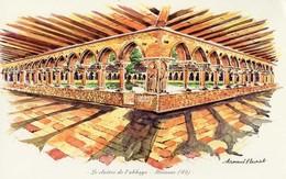 REPRODUCTION D´UNE AQUARELLE LE CLOITRE DE L'ABBAYE  MOISSAC,(82) PEINTRE ARMAND FLEURIOT  28cmX17cm - Aquarelles