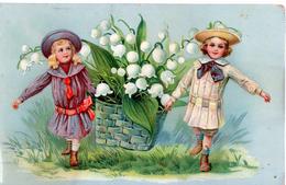 Deux Enfants Qui Portent Un Panier De Muguet / 1907 - Scènes & Paysages