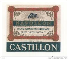étiquette -  1900/1930 - Mini étiquette Mignonette - Flask - Distillerie PINET CASTILLON  COGNAC  Napoléon - Whisky