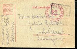 AUSTRIA  WWI FELDPOST FELDSPITAL ROTEN KREUZ CANCEL TO LAIBACH - Cartas