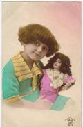 """FANTAISIE ENFANTS FILLETTE GIRL : """" Portrait D'Enfant Avec Sa Poupée En Porcelaine """" Montre Pendentif Médaillon Jouet - Enfants"""