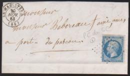 France - LaC N°22 Obl. 1863 La Magistere 2156 Petit Chiffre Du Gros Chiffre Pour Port De Pascau - Storia Postale