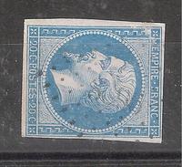 Empire N° 14 B, BLEU PALE Obl Pc 3696 De XERTIGNY, Vosges, Indice 7, Belle Nuance, TB - 1853-1860 Napoléon III