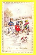 * Fantaisie - Fantasie - Fantasy * (54019) Bonne Année, New Year, Enfant, Child, Neige, Snow, Ski, Oiseau, Bird - Neujahr