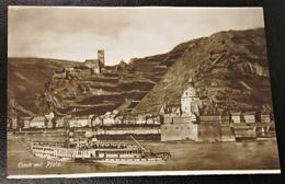 Alte Ansichtskarte Caub Mit Pfalz Burg Schiff Rheindampfer Um 1926 - Dampfer