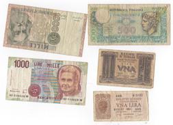 Italia, Lotto Di 5 Banconote Diverse. - Spagna