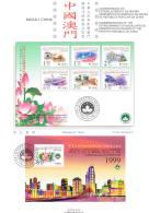 Macau, 1999, Pagela, Comemoração Do Estabelicimento Da Reg. Aminist. Especial De Macau Da Rep. Pop. Da China - Macao