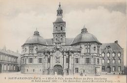 CARTE POSTALE ORIGINALE ANCIENNE : SAINT AMAND LES EAUX HOTEL DE VILLE ANCIEN PRIEURE BENEDICTINS ANIMEE NORD (59) - Saint Amand Les Eaux