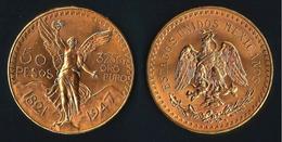 MESSICO 1947 - Centenario Indipendenza - 50 Pesos - SPL - Oro / Or / Gold  900 / 000 - 37,5 ORO PURO - - Messico