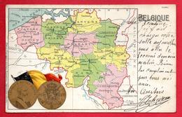 Belgique Carte Géographique Des 9 Régions. Médaillon Léopold II, Roi Des Belges. 1904 - Autres