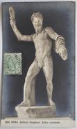 "CARTOLINA  "" ROMA - SATIRO COLOSSALE - GALLERIA BORGHESE""  TIMBRO POSTALE 1922 - Museos"