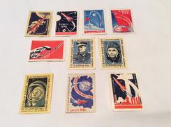 Set 10 Vintage USSR Soviet Stickers For Matchboxes Match Labels Gagarin Rocket Moon Satellite 1950-60. Soviet Space - Matchbox Labels