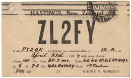 17647 Nova Zelândia Cartão De Radio Amador Zl2fy - Autres Collections
