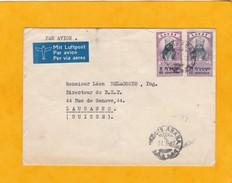 1947 - Enveloppe Par Avion  D ' Addis Ababa, Ethiopie  Vers Lausanne, Suisse - Affranchissement 72 Centimes - Ethiopie