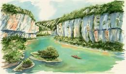 REPRO AQUARELLE   Le Cirques Des Baumes  Dans Les Gorges Du TARN ( 48)  PEINTRE A HUGUES Papier Fort EDIT ATLAS - Aquarelles
