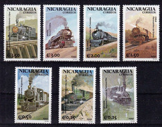 Nicaragua 1991 MNH 7v, Steam Engines, Locomotives, Train, Railways - Trains