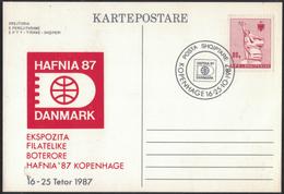 AZ392      Albania Postcard, Kartepostare - 1987  Exhibition HAFNIA ´87 Stamp Statue Of Mother Albania 80q - Albanien