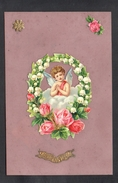 CPA FANTAISIE CELLULOID - AJOUTIS DECOUPIS CHROMO - Ange Angelot Cupidon Muguet Roses - Bonne Année -#466 - Nouvel An