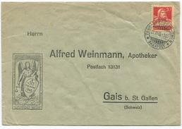 1593 - THUN-BURGDORF-THUN BAHNPOST Stempel Auf Illustriertem Umschlag Nach Gais Bei St. Gallen - Bahnwesen