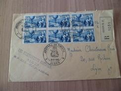Lettre Recommandée Alger Le 19/03/1955 PremierJour Pour Lyon Cachet D'arrivée Le N°325 En Bloc De 6 Journée Du Timbre TB - Algeria (1924-1962)