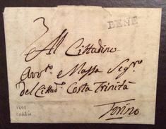 """BENE (BENE VAGIENNA) LETTERA DA CARRU'  PER TORINO IL 27/9/1801 """"..grano Riso E Vino Per 30 Soldati Di Cavalleria.."""" RR - 1. ...-1850 Prephilately"""